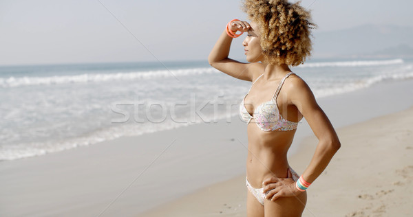 Woman During Sunbath On Tropical Beach Stock photo © dash