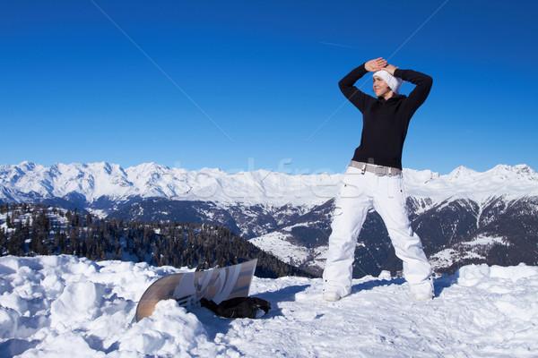 Női snowbordos áll szirt nő lány Stock fotó © dash