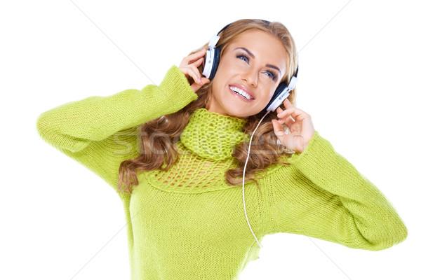 Mulher fones de ouvido ouvir música branco cara Foto stock © dash