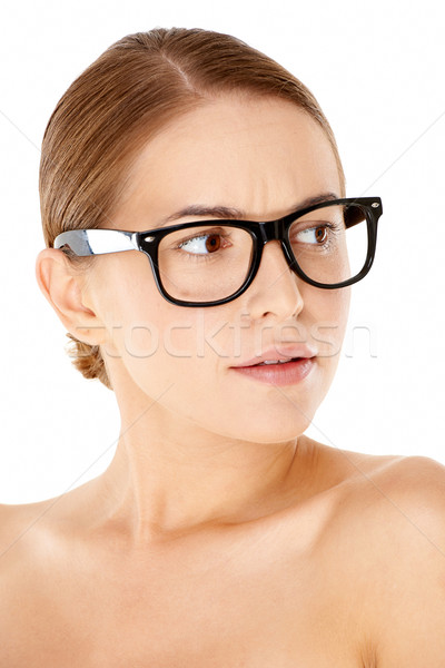 Woman wearing heavy framed glasses Stock photo © dash
