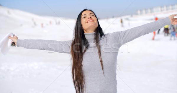 若い女性 歓喜 冬 天気 立って 新鮮な ストックフォト © dash