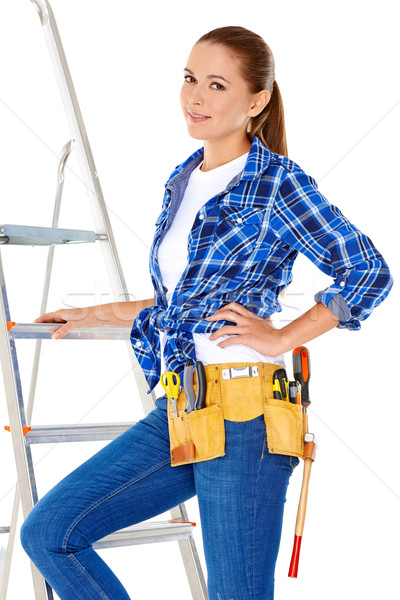 Confident happy DIY handy woman Stock photo © dash