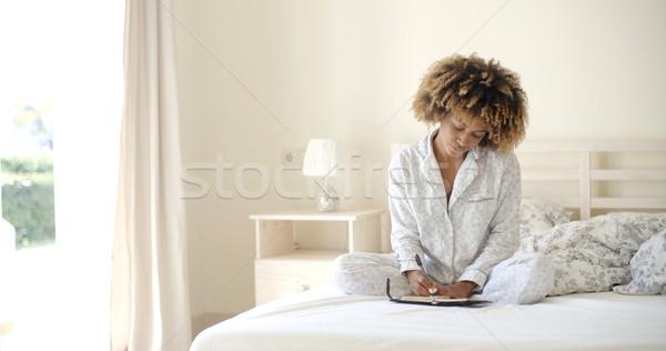 Ragazza diario letto mattina libro Foto d'archivio © dash
