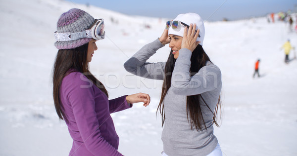 Stock photo: Two stylish young woman chatting at a ski resort