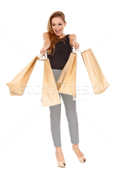 Ecstatic female shopper Stock photo © dash