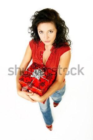 Geven geschenk mooie vrouw handen papier meisje Stockfoto © dash