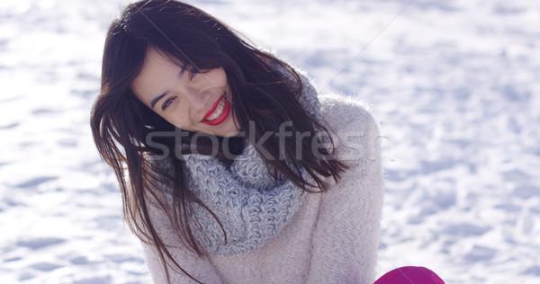 Stock fotó: Mosolyog · fiatal · nő · hó · pulóver · dől · fej