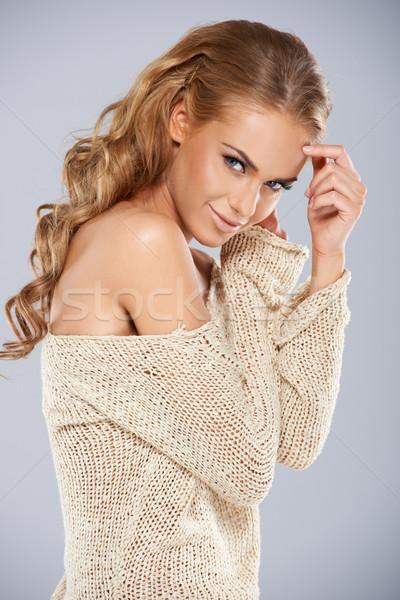 Sensual mulher loira elegante ombro Foto stock © dash