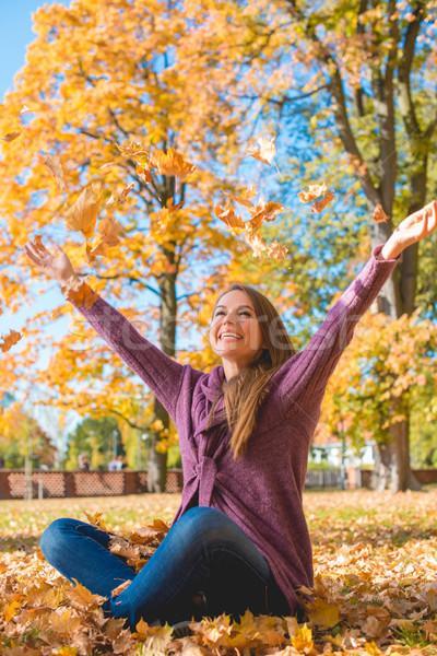 幸せ 若い女性 歓喜 秋 公園 座って ストックフォト © dash
