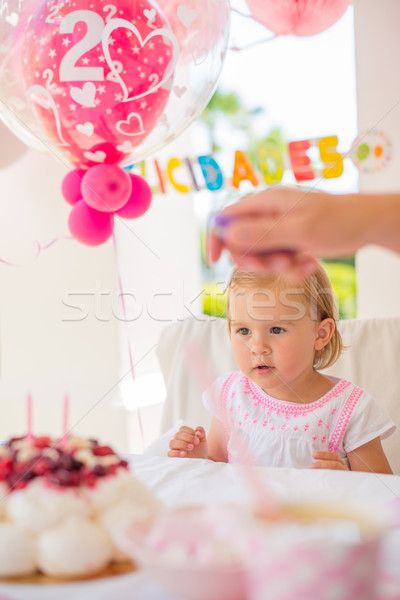 Little Girl Celebrate Happy Birthday Party Stock photo © dash