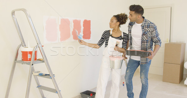 Young couple discussing shades of paint color Stock photo © dash