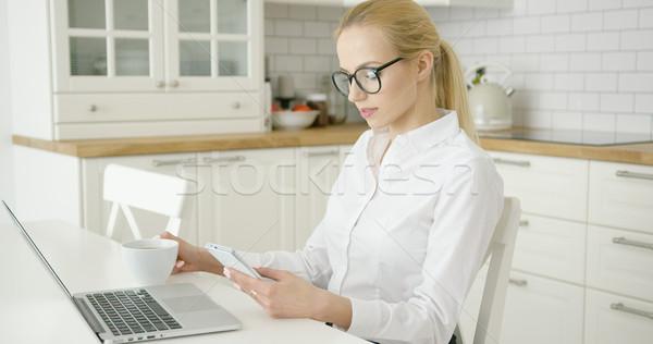 Sikeres fiatal nő eszközök vonzó nő formális ruházat szemüveg Stock fotó © dash