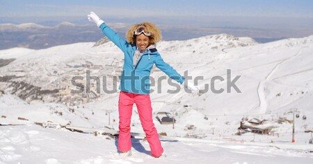 Playful woman posing for a selfie in the snow Stock photo © dash