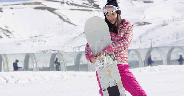 Pretty young asian woman holding snowboard Stock photo © dash