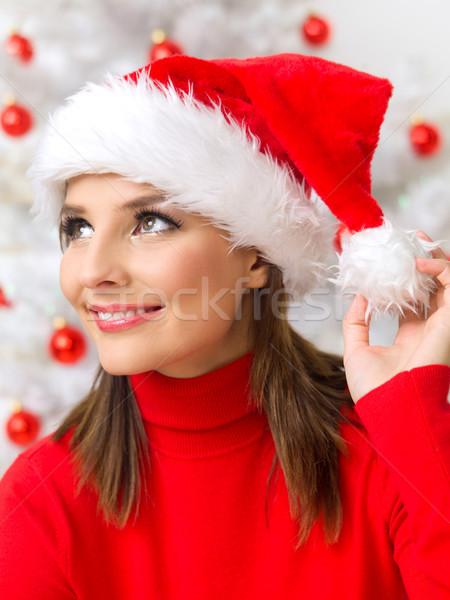Natal beleza bela mulher árvore de natal vermelho Foto stock © dash