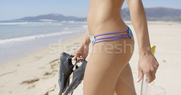 Female holding flippers and mask Stock photo © dash