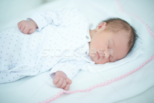 Stock fotó: Imádnivaló · gyermek · alszik · fehér · pléd · kaukázusi
