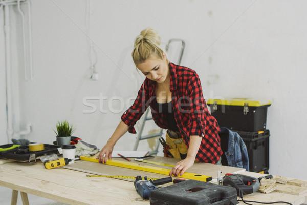 Nő szellem szint műhely asztal buborék Stock fotó © dash