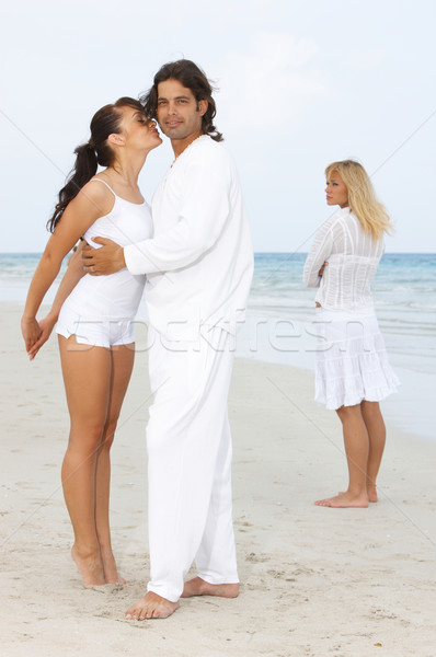 Invidiare romantica tempo spiaggia ragazza Foto d'archivio © dash