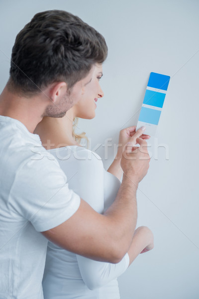 Caucasian Couple Looking at Color Indicator Paper Stock photo © dash