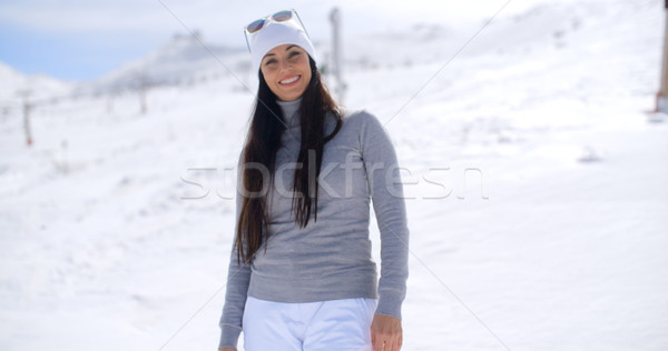 Belle femme rire chapeau lunettes de soleil Photo stock © dash