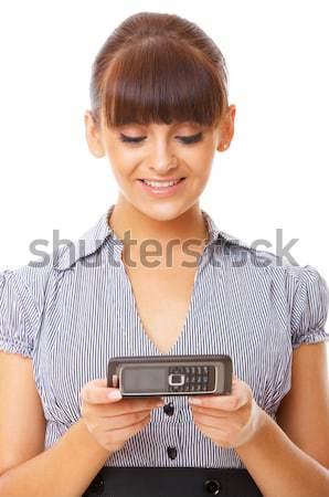 Iş kadını telefon güzel hareketli telefon gülümseme Stok fotoğraf © dash