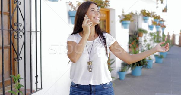 Cheerful woman talking phone at street Stock photo © dash