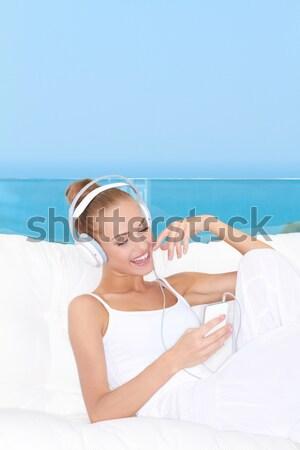 смеясь женщину трусики рубашку плотный белый Сток-фото © dash