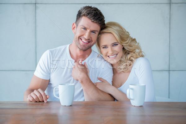 Afetuoso casal manhã café atraente Foto stock © dash