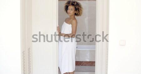 Szexi női fehér alsónemű pózol ajtó Stock fotó © dash