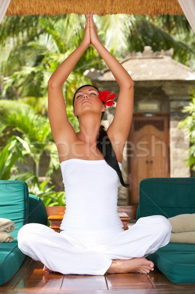 Idő pihen évek nő portré jóga egzotikus Stock fotó © dash