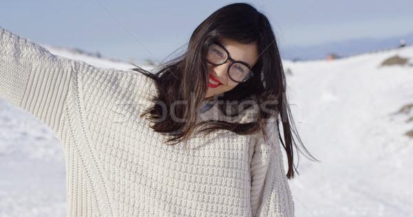 Stock fotó: Boldog · fiatal · nő · tájkép · visel · szemüveg · kiemelt