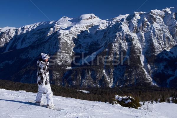 Stockfoto: Vrouwelijke · paardrijden · sneeuw · vrouw · meisje