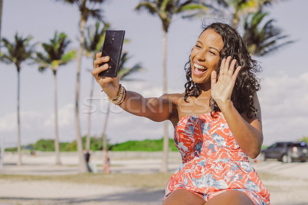 Pretty black girl speaking online in park Stock photo © dash