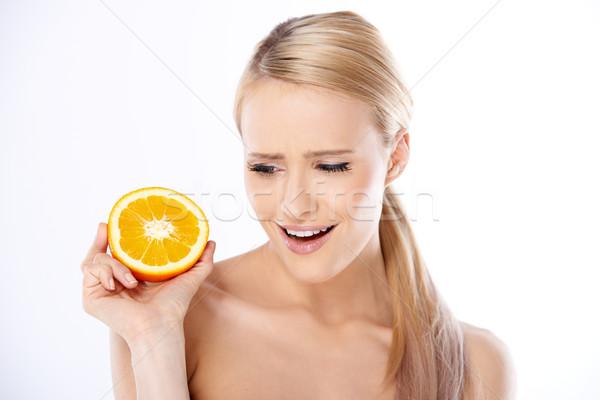 Donna metà arancione Foto d'archivio © dash