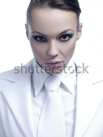 Close up Gorgeous Young Woman in White Attire Stock photo © dash