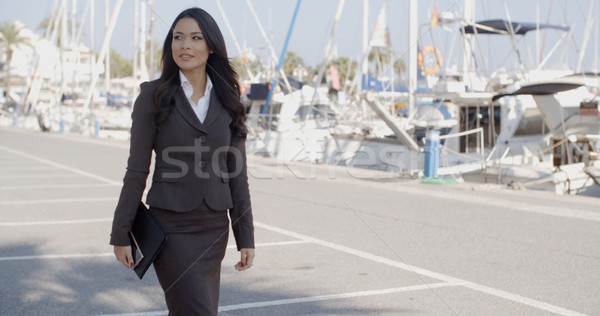 ビジネス女性 徒歩 桟橋 ぼやけた ボート 女性 ストックフォト © dash