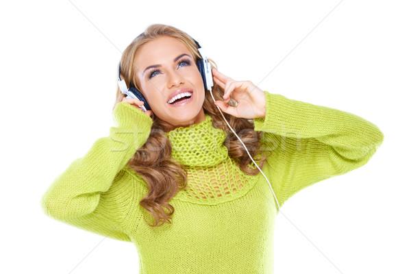 幸せ 女性 音楽 空気 ストックフォト © dash