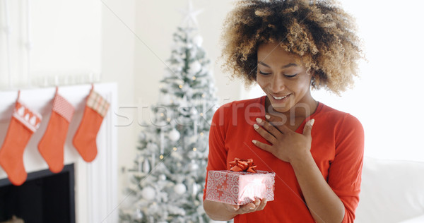 Excited young woman with an unexpected gift Stock photo © dash