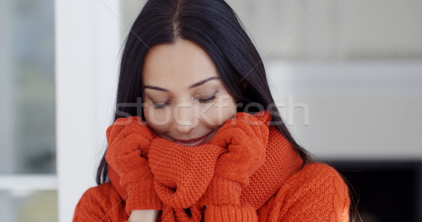 Serious young woman in winter fashion Stock photo © dash