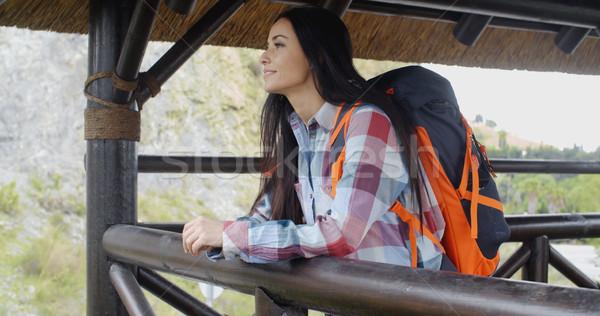 Glimlachend backpacker berg aantrekkelijk jonge vrouwelijke Stockfoto © dash
