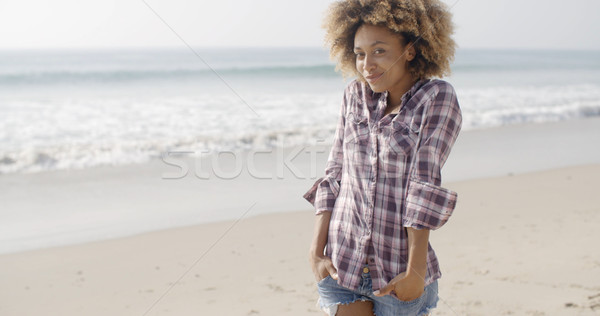 Bella spiaggia felice african american rallentare Foto d'archivio © dash