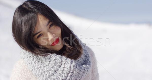 Happy cute asian girl enjoying her winter time Stock photo © dash
