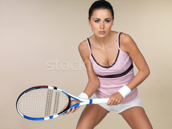Woman playing tennis Stock photo © dash