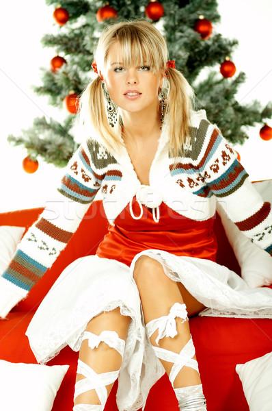 Hermosa Navidad árbol de navidad blanco mujer Foto stock © dash