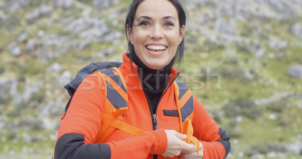 Happy vivacious young woman outdoors in nature Stock photo © dash