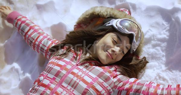 Fiatal nő hó síszemüveg fél test portré Stock fotó © dash