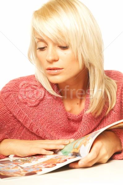 Kadın okuma dergi genç güzel renk Stok fotoğraf © dash