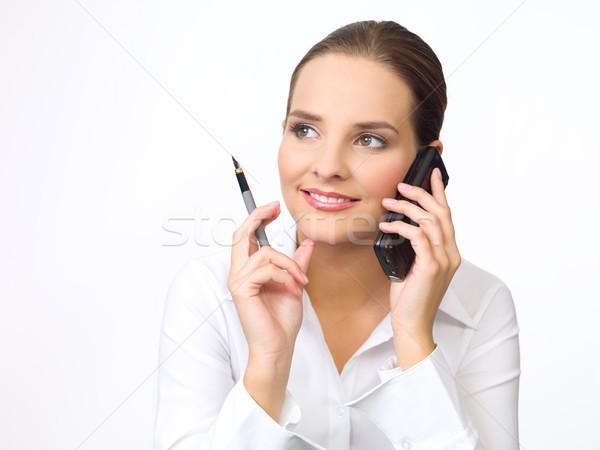 Cute zakenvrouw portret mooie jonge mobiele telefoon Stockfoto © dash