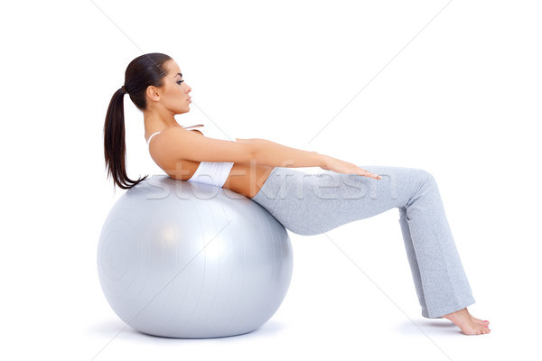 Abdominale muscles fitness balle cute femme Photo stock © dash
